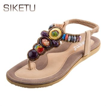 SIKETU Ladies Bohemia Beads Elastic Band Beach Flip-flop Sandals