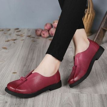 2017 VALLU Handmade Women Shoes Genuine Leather Flat Heels Round Toes Platform Women F