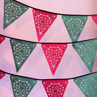 Red and green Christmas garland, holiday banner, lace bunting