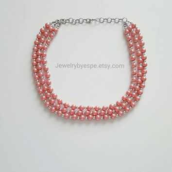 Coral Orange Statement Necklace, Pearl Layered Necklace, Chunky Bib Necklace, Beaded Statement Necklace