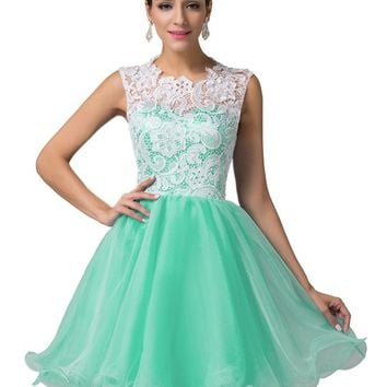 Grace Karin® Women's Short Prom Homecoming Dresses with Lace Bodice CL6123-5