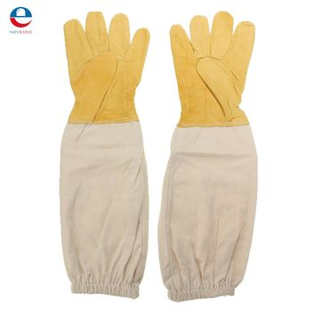 Yellow and white Pair Beekeeping Goatskin Cape Gloves XXL Sheepskin W/ Vented Long Sleeves Guard New Free Shipping