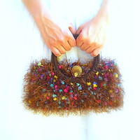Knitted Kelly  Bag, Handmade, Brown Multicolor Luxury Yarn, Vintage Button Closure, Silk Lining