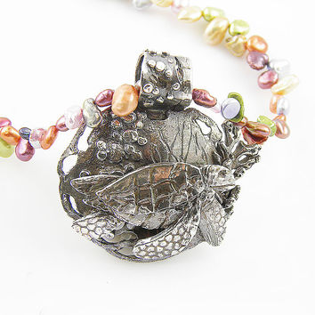 Turtle Swimming in the Coral Fine Silver Keshi Pearl Neclace