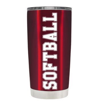 TREK Softball on Translucent Red 20 oz Tumbler Cup