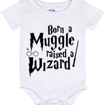 Cute Harry Potter Born a Muggle Onesuit - all sizes from (New born - 24 months)