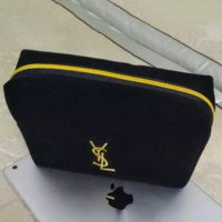 YSL makeup bag, black velvet embroidered with silk velvet makeup bag