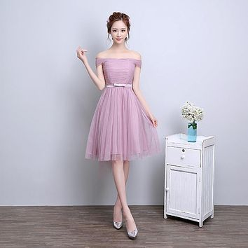 ZX-F3D#The new spring summer 2017 Off collar short bride wedding bridesmaid dresses Many colors in champagne pink smoky gray