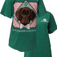 SALE Southern Couture Preppy Lab Dog Bow Comfort Colors Grass Girlie Bright T Shirt