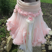 Faded pink petticoat skirt with bloomers tattered ribbon handmade flowers tomboy meets country girl clothing by anita spero
