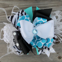 Turquoise and black over the top Boutique Bow by Thesassycoop