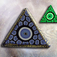 EyeGloArts Glow in the Dark All Seeing Eye Illuminati Pyramid Handmade blue Millefiore Blacklight Art #P182014