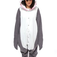 Bcozy Shark Onesuit, Gray/White/Pink, One Size