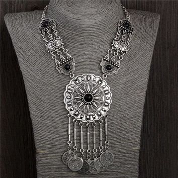 LMFUG3 77G Collar Choker Statement Bohemian necklace Coin Gypsy Tribal ethnic Turkish Chain (Size: 45.5 cm, Color: Silver gray)