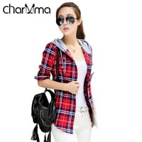 CharMma Casual Red Plaid Blouse Shirt Women Spring Long Sleeve Hooded Shirt Blouse Blusas 2017 Female Flannel Top Outerwear