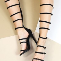 TOKYO BLACK BUCKLE UP KNEE HIGH SANDALS