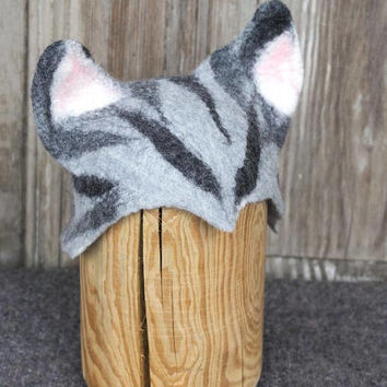 Newborn hat photography prop, felted cat hat for baby, infant photoprops, newborn merino wool hat, Photo studio accessories, READY TO SHIP