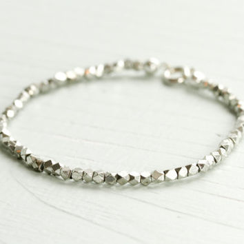 Simple silver bracelet - simple silver jewelry - silver beaded bracelet - silver nugget bracelet - minimalist bracelet - Sea and Cake