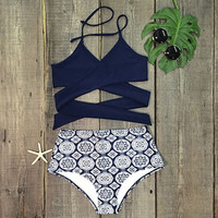 Cross High Waist Bikini Set