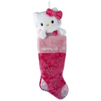Kurt Adler HK7901 Hello Kitty Pink Plush Head Stocking, 22-Inch