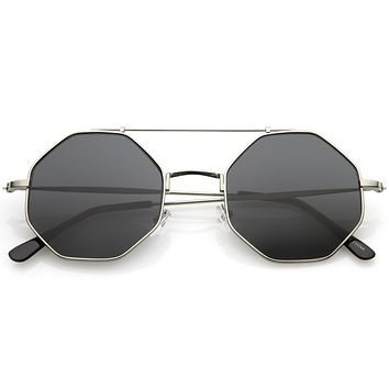 Retro Geometric Octagon Dapper Flat Lens Sunglasses C352