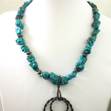 Lasso Lariat Necklace Western Jewelry Chunky Turquoise Blue Nugget Copper