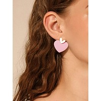 1pair Two Tone Heart Drop Earrings