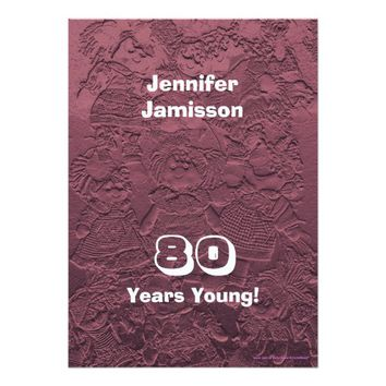 80 Years Young Birthday Pink Dolls Invitations