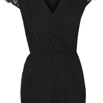 Lace Cap Sleeve Playsuit - Topshop