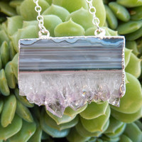 Amethyst Slice Necklace Rhodium Silver Horizontal Druzy Quartz Crystal Agate Pendant- Free Shipping OOAK Jewelry