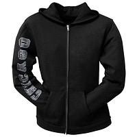 Chicago White Sox - Distressed Logo Black Juniors Zip Hoodie