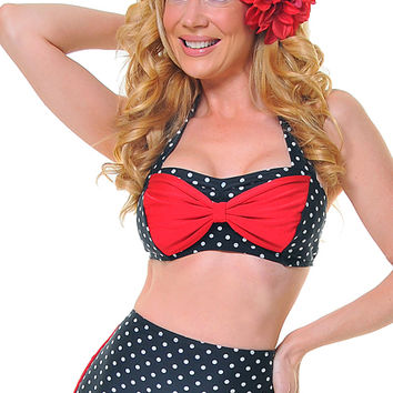 Black & Red Polka Dot Cyndy Bikini Top