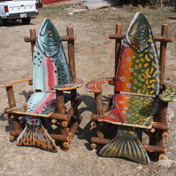 Hand Painted Sassafras Log Fish Arm Chair by RobertRNorman on Etsy