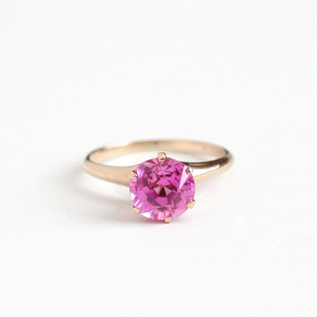 Vintage 10k Rosy Yellow Gold Created Pink Sapphire Ring - Edwardian Size 6 3/4 Pink Solitaire Gem Alternative Engagement Fine Jewelry