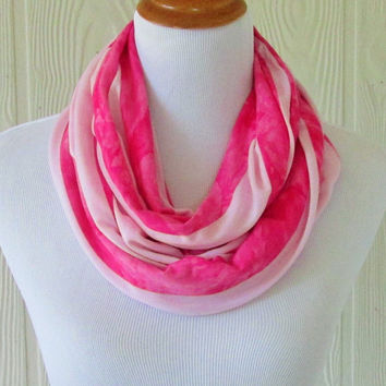 Pink Stripes Infinity Scarf, Women's Fashion Scarf, Circle Scarf, Loop Scarf, Tube Scarf , Women's Scarves, Eclectasie