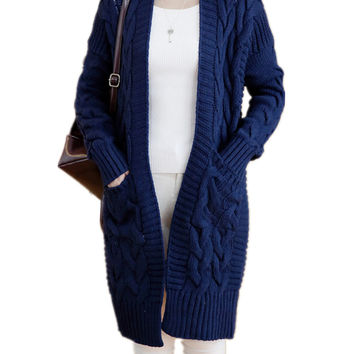 Women's Cable Pockets Front Knitted Sweater Cardigan Outwear
