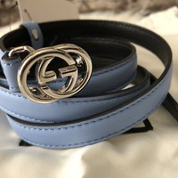 NWT Authentic Gucci Ladies Slim Belt With Interlocking GG Buckle In Blue 95
