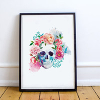 Floral Skull Printable Wall Art Watercolor Day of the Dead Skull Poster Sugar Skull Home Decor Skull Art Print Wall Decor Digital Download