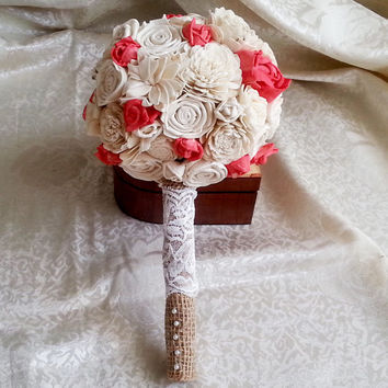 Small ivory and coral rustic wedding BOUQUET sola Flowers, Burlap Handle, Flower-girl, Bridesmaids, roses vintage wedding custom small toss