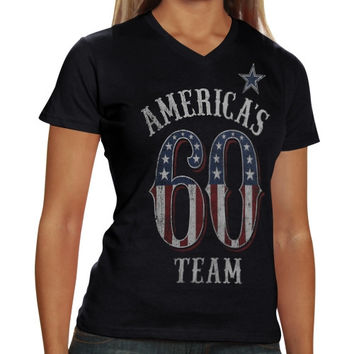 Dallas Cowboys Ladies Team America V-Neck T-Shirt – Black