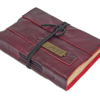 Deep Cherry Red Leather Journal with Tea Stained Paper and Love Bookmark
