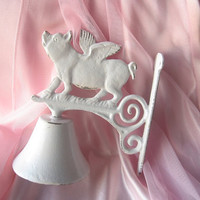 Pig Bell/When Pigs Fly  Bell / Dinner Bell / Flying Pig Dinner Bell/Cafe Bell/Farm House/ Rustic Cast Iron