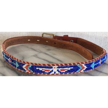 Beaded Genuine Leather Belt Thunderbird Arrow Tool Emboss Whipstitch Western 24""