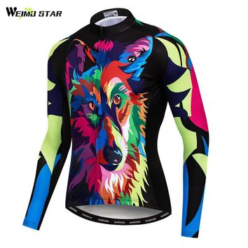 Weimostar Printing Wolf Cycling Jersey Long Sleeve Shirt Autumn MTB Bicycle Cycling Clothing Breathable Mountain Bike Jersey Top