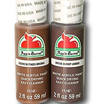 Apple Barrel Brown Acrylic Paint Set Bundle - Nutmeg Brown & Burnt Umber (2 Ounces Each)