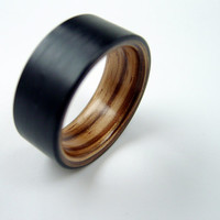 Bent Wood and Carbon Fiber Ring -- Zebrawood interior