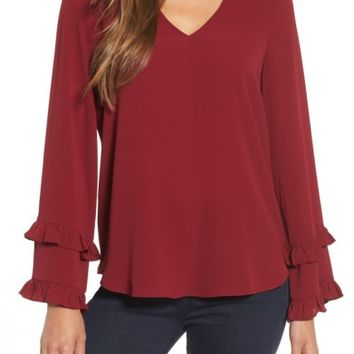 Pleione Ruffle Bell Sleeve Top | Nordstrom