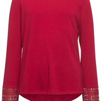 Full Tilt Crochet Sleeve Girls Top Burgundy  In Sizes