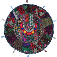 "32"" Big Black Outdoor Patchwork Embroidered Round Floor Pillow on RoyalFurnish.com"