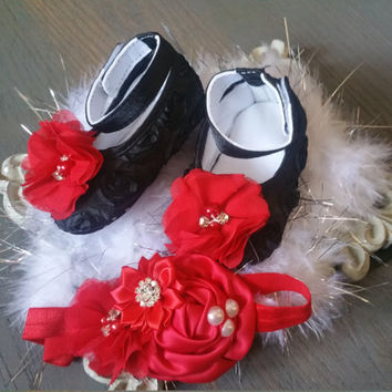 Black Baby Shoes,Velcro baby,red baby shoes, princess baby shoes, baby girl crib shoes, baby shoes, red baby headband Wedding, Ready to ship